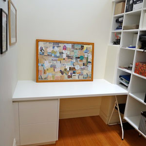 combination of desk and drawers