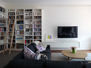 library bookcase with media unit
