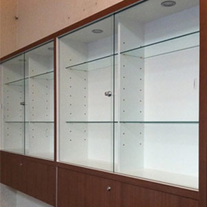 Commercial joinery with glass door