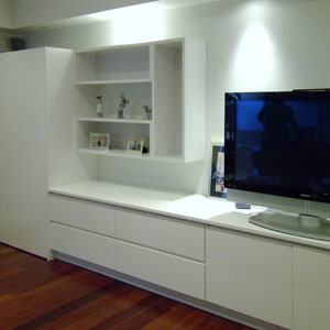 media units with retractable pocket door