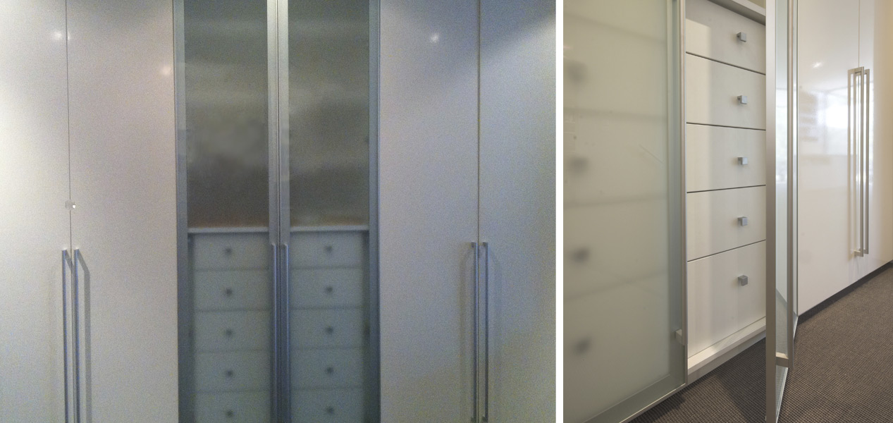 Glass Door Built In Wardrobes