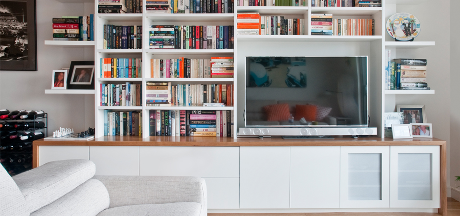 White Wooden Media and Storage Unit