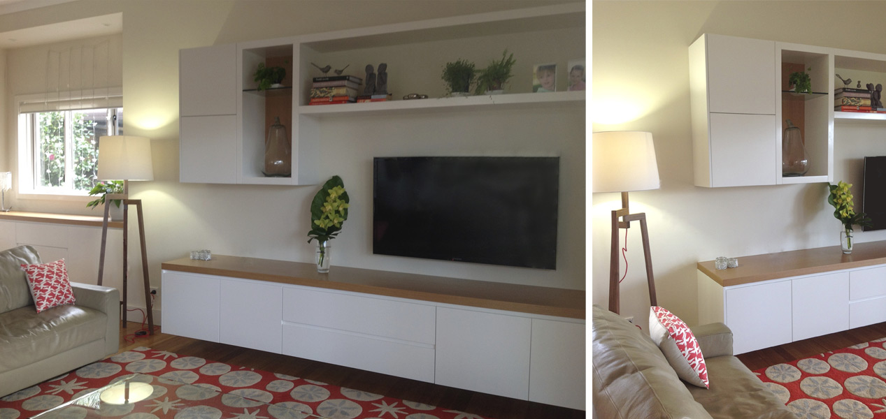 White Wooden Media and Display Unit